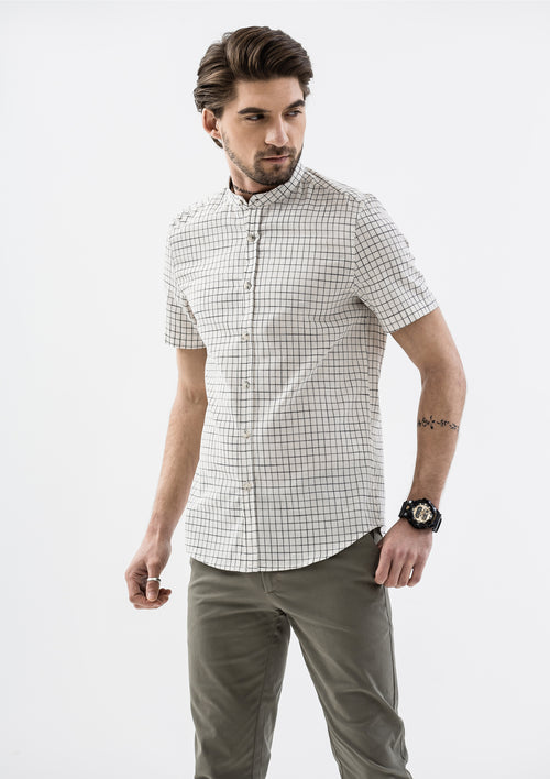 Windowpane Band Collar Short Sleeve Shirt - White