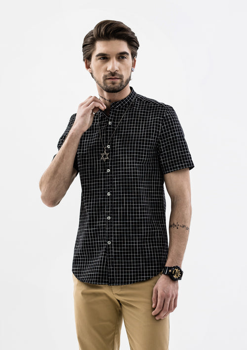 Windowpane Band Collar Short Sleeve Shirt - Black
