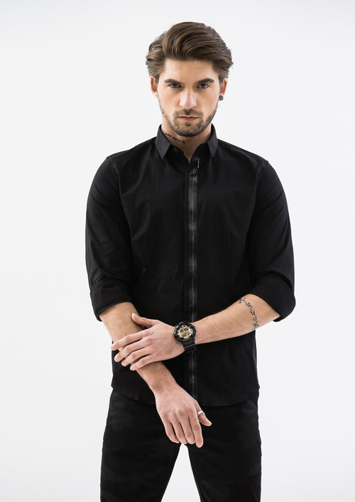 Zip Button Down Long Sleeve Shirt - Black