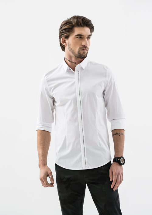 Zip Button Down Long Sleeve Shirt - White