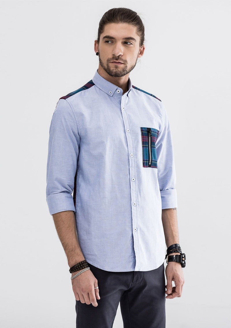 Zipper Checkered Pocket Long Sleeve Shirt - Blue