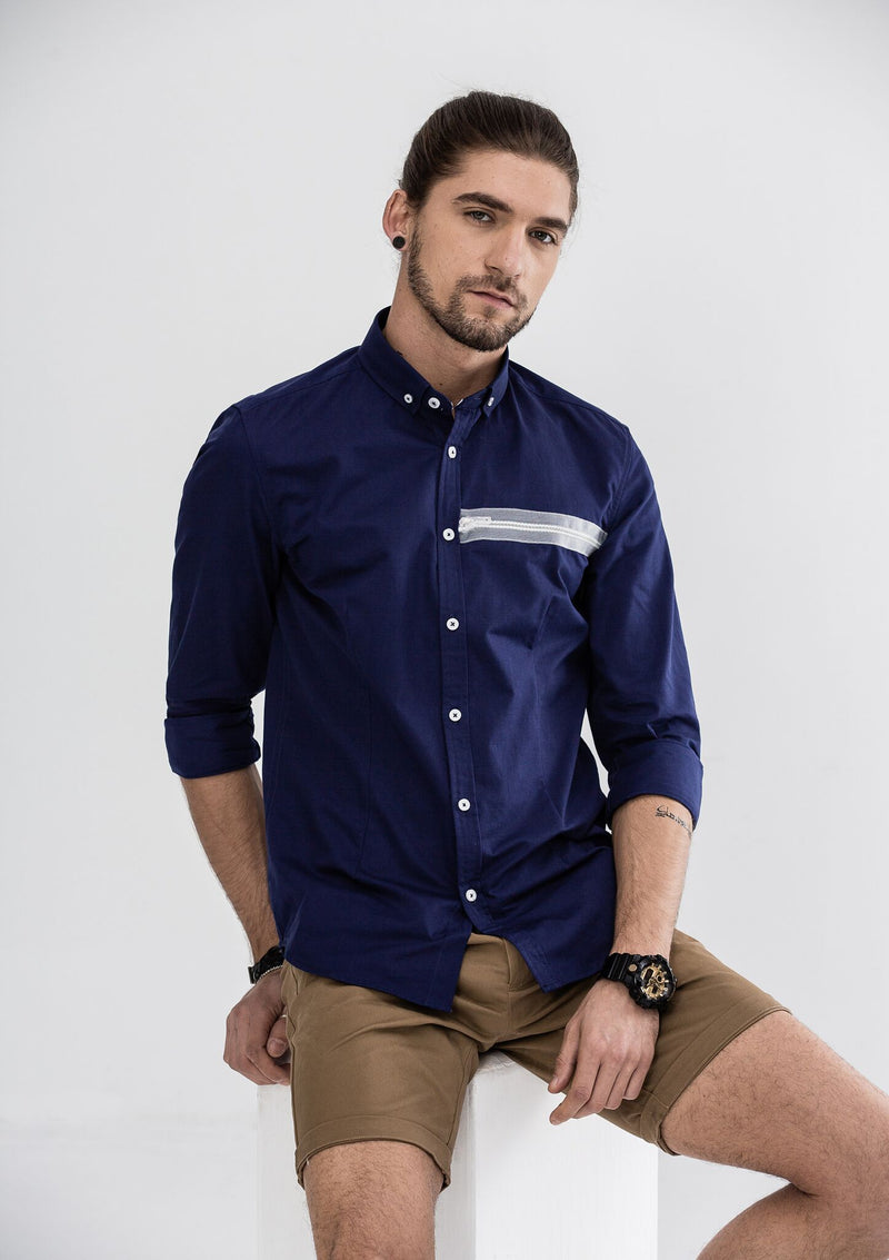 Zipper Grosgrain Long Sleeve Shirt - Blue