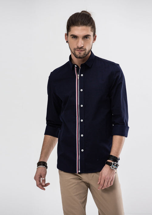 Grosgrain Zipper Long Sleeve Shirt - Blue