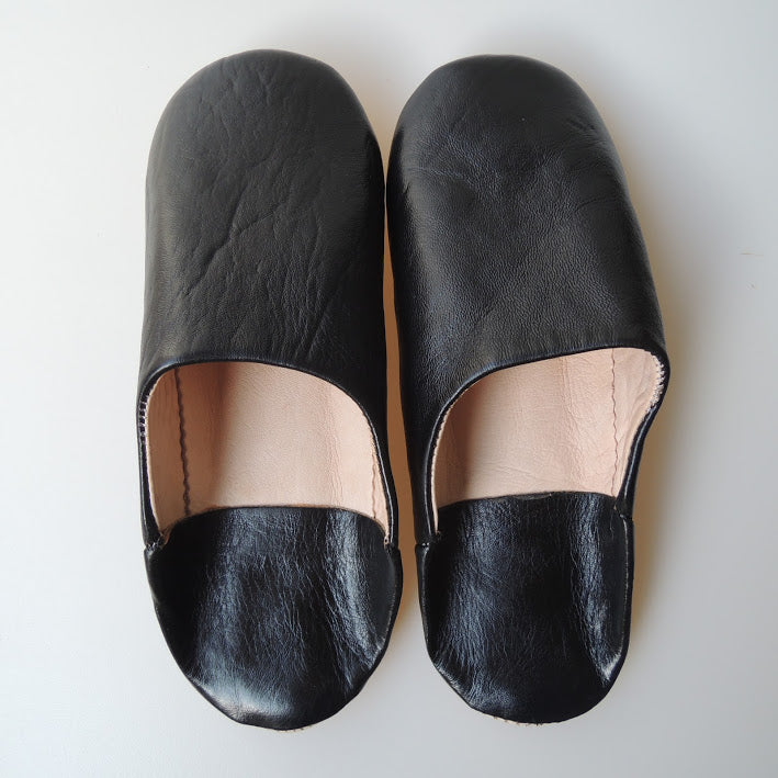 Moroccan Slippers Leather Sheepskin  [Black] Free Shipping - Heiwa Slipper
