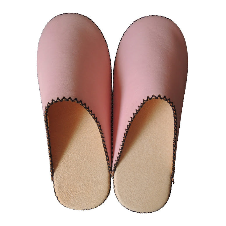 [Pink: Small] Sheepskin×TOKYO Leather(Pigskin) simple slippers [Pink] Chrome-free - Heiwa Slipper