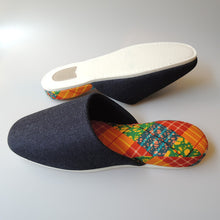 XL : Denim Hiroshima MIX × Batik Slippers (Checker NUMA)【JP 29cm】 - Heiwa Slipper