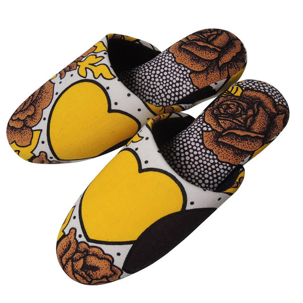 Medium [25cm] : Batik Mix Slippers (Vintage Heart💛Rose#1)  HM - Heiwa Slipper