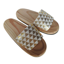 Shiny Wooden slip on sandals  ORA-ORA bling bling【Gold×White】HM - Heiwa Slipper
