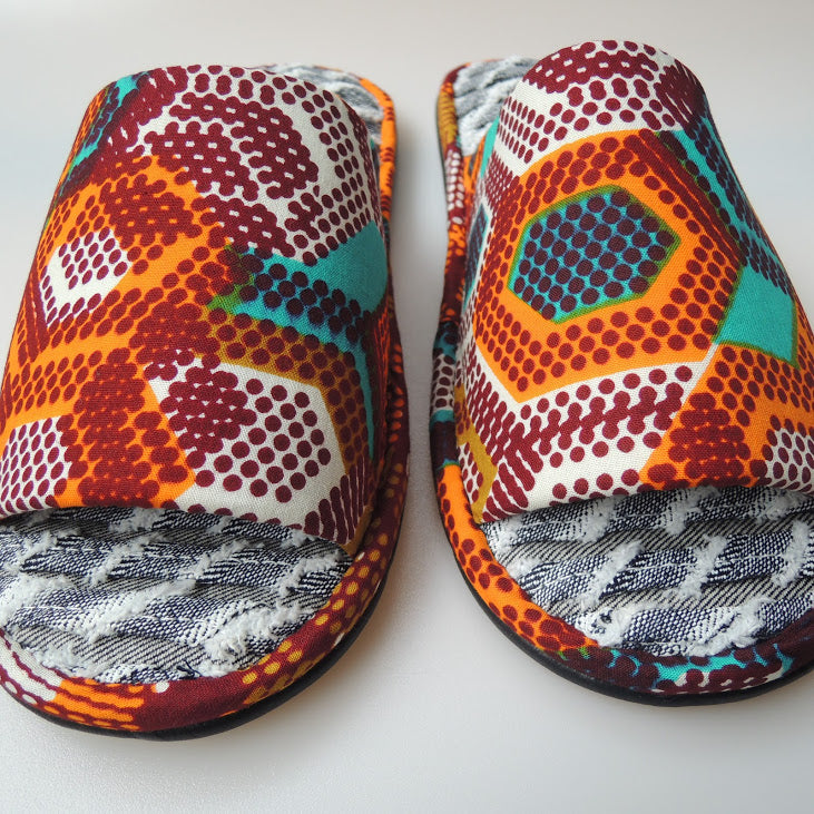 [Size 26m]  Kikko-Dot Open toe Batik×Denim upcycle soles slippers #1 - Heiwa Slipper