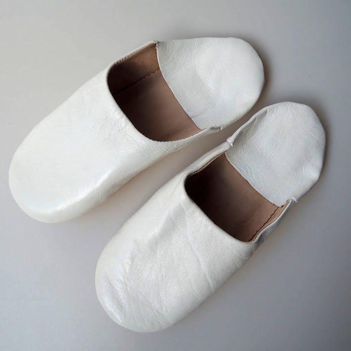 Moroccan Slippers Leather Sheepskin  [White] Free Shipping - Heiwa Slipper