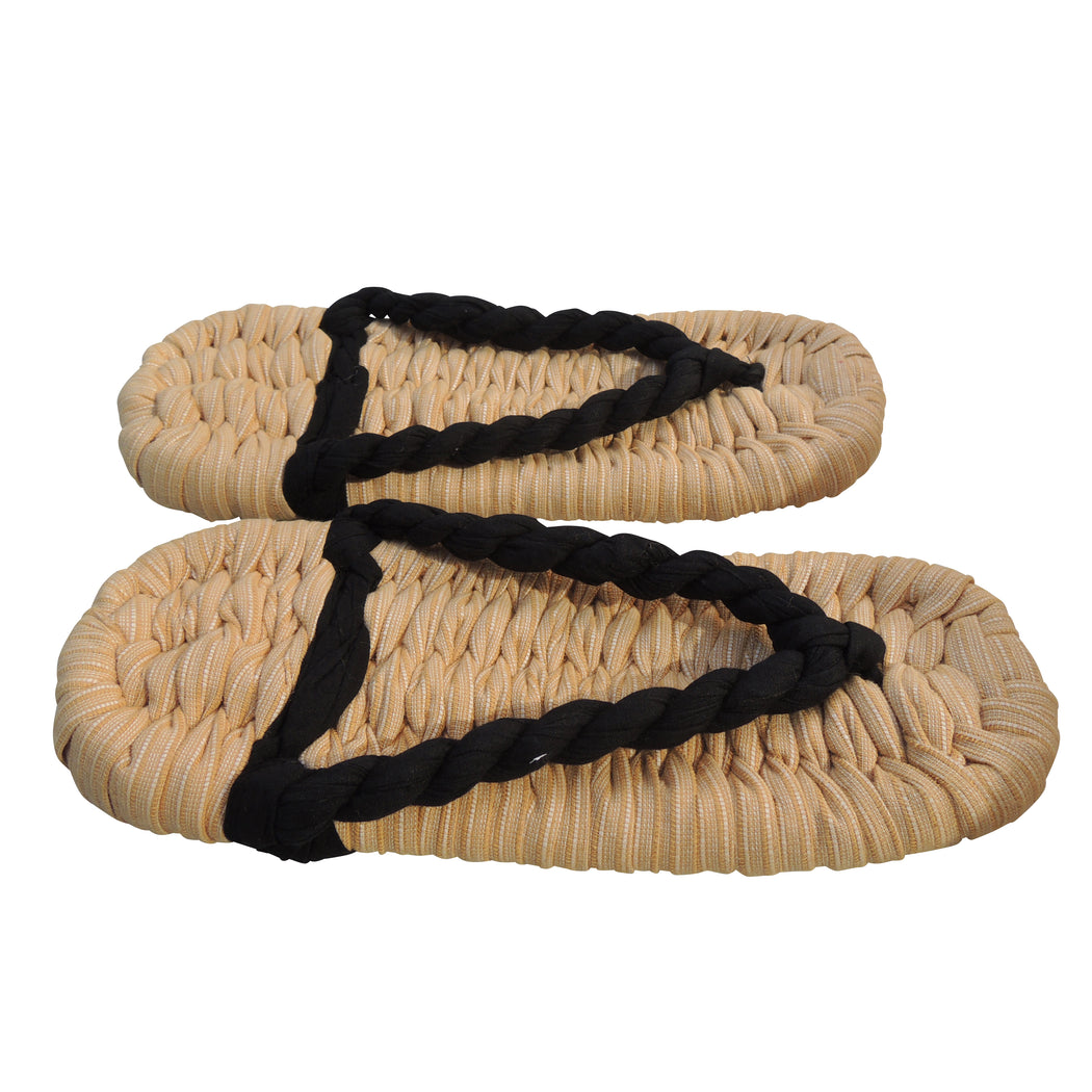Black Strap × Natural  Zouri Cotton Woven Slippers - Heiwa Slipper