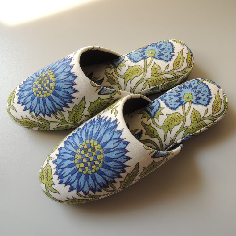 Block Printing  Flowers Slippers - Heiwa Slipper