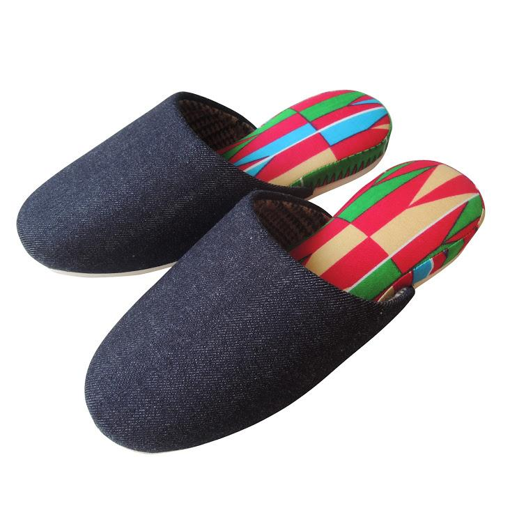 【Winter limited】Medium / Wool check Liner×Hiroshima Denim & Batik Mix Slippers [Pinky-INAZU]【JP25cm】#SP-0061-007 - Heiwa Slipper