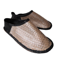 Large: Patchwork Scrappy leather slippers【Rubber soles】 #3  [Shiny mesh] - Heiwa Slipper