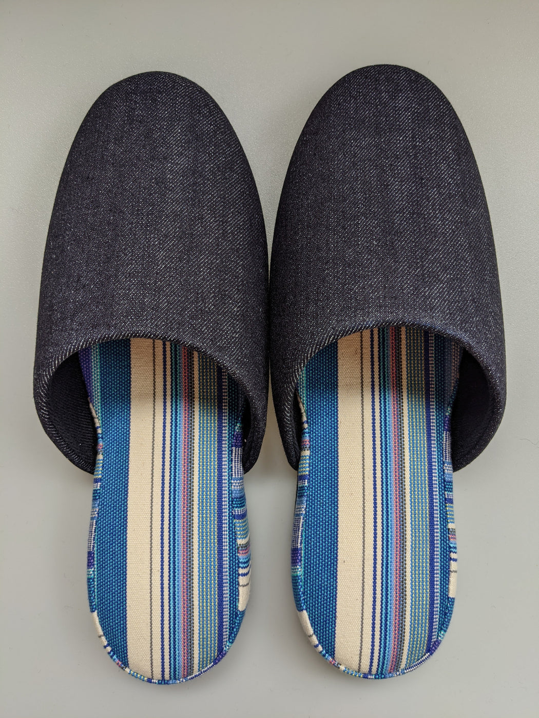 Denim Mix Slippers [Black wool felt sole] (Stripe: Limited Quantity) 3 size: Medium / Large / XL