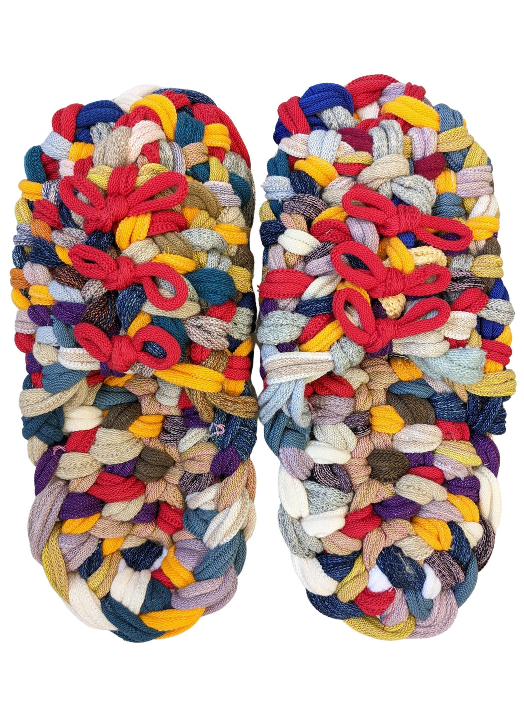 Rainbow Multicolored | Large | Knit upcycle slippers 2020AW-27 [Large] Rainbow
