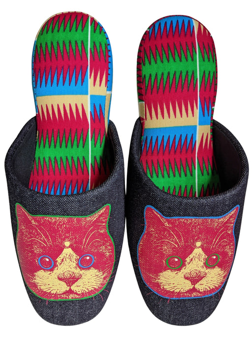 Satoshi Onodera FUJI CAT [Limited Quantity] :Denim Mix Slippers  [Wool Felt Sole] XL