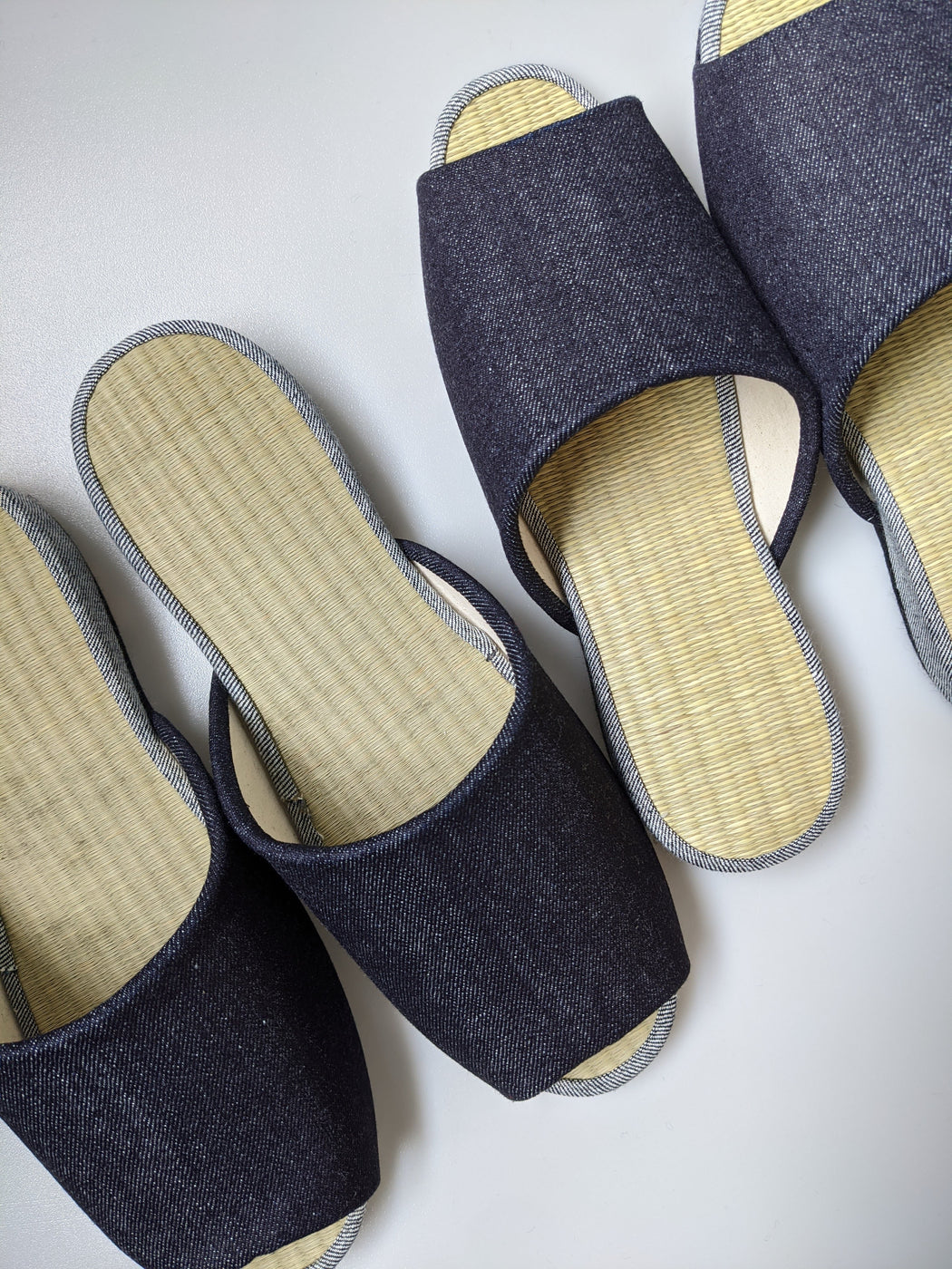 Open Toe TATAMI Slippers Type#2  [Black Wool Felt Sole] / Shimple [Denim Hiroshima]
