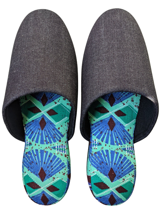 XL: Denim Mix Slippers [Black Wool Felt Sole]  2020AW-10 [Size: XL]