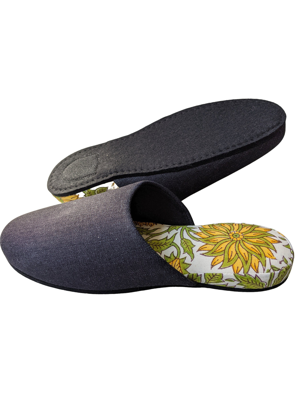 XL : Denim and Flowers Mix Slippers [Black wool felt sole] (2021 Spring / Block Printing Flowers) XL #1 #2