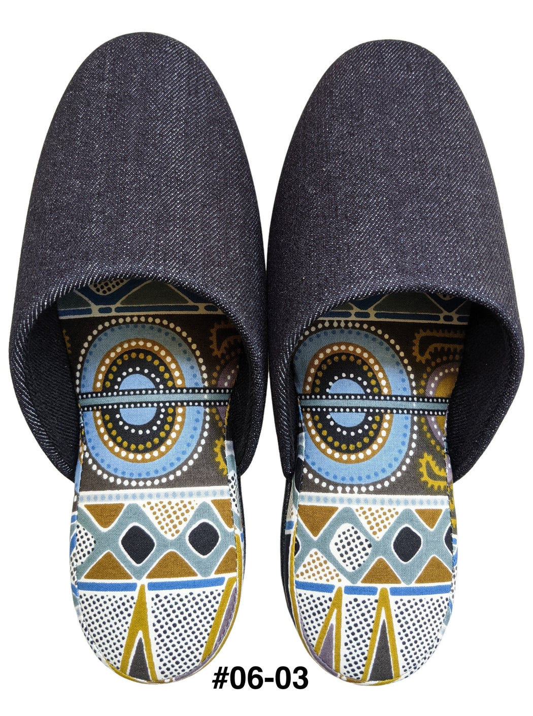 Small : Denim Mix Slippers 2021SS-06 [vinyl sole] [Size: Small]
