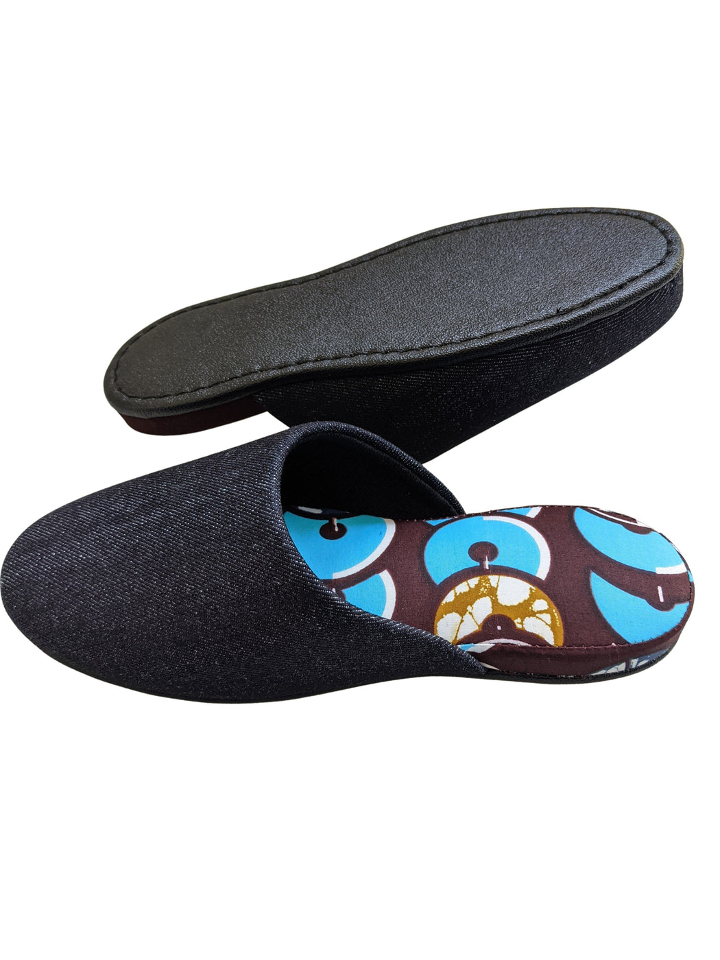 Small : Denim Mix Slippers 2021SS-07 [vinyl sole] [Size: Small]