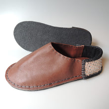 Medium: Patchwork Scrappy leather slippers【Rubber soles】 #5  [Brown Black/shine] - Heiwa Slipper