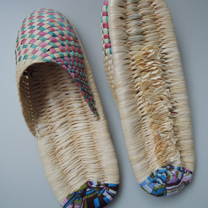 Corn Husks Upcycle Slippers / #2019-001 / Large - Heiwa Slipper