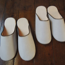 Large【JP 27cm】: TOKYO Leather simple slippers [Natural MORI] Chrome-free #SP-0055-009/005