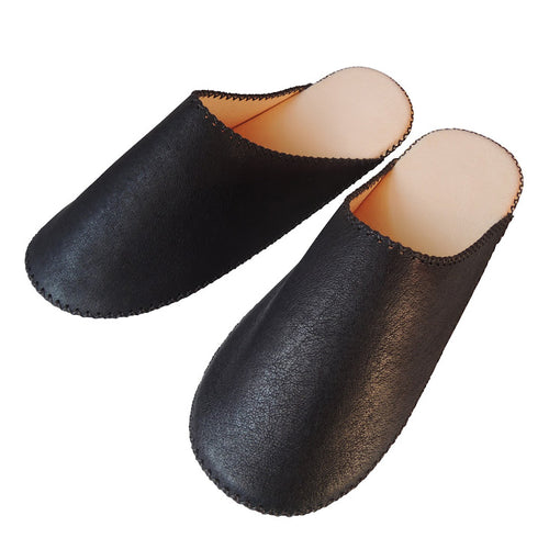 [Black :Large] TOKYO Leather simple slippers / Chrome-free Large【JP27cm】 - Heiwa Slipper