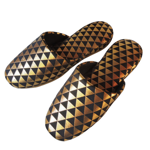 Shiny Triangle Slippers [Black × Gold]  / 3 size