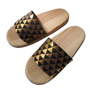 Shiny Wooden slip on sandals ORA-ORA bling bling 【Gold×Black】 - Heiwa Slipper