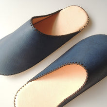 TOKYO Leather simple slippers [Blue] Chrome-free / SP-0060-009 L / SP-0059-008 S - Heiwa Slipper
