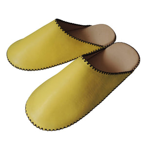 Small:Sheepskin×TOKYO Leather(Pigskin) simple slippers [Yellow] Chrome-free - Heiwa Slipper