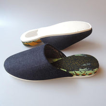 【Winter limited】Medium / Wool check Liner×Hiroshima Denim & Batik Mix Slippers [KIRIN]【JP25cm】#SP-0061-016 - Heiwa Slipper