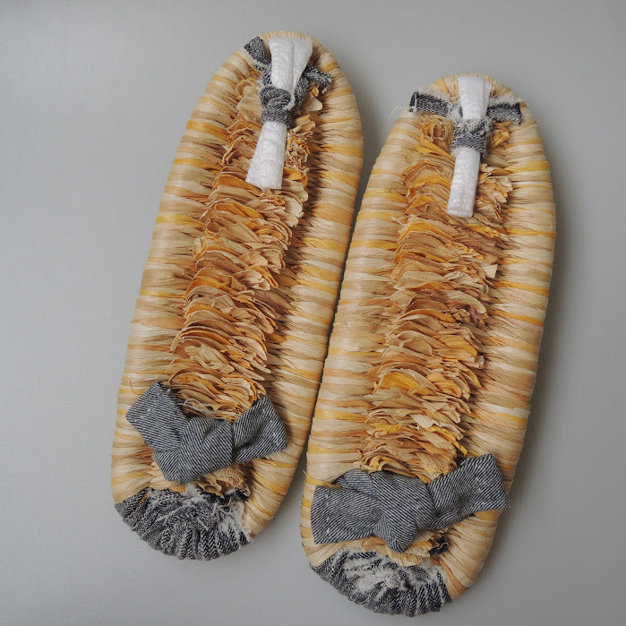 Corn Husks Upcycle Zouri Slippers / #2019-I / XL - Heiwa Slipper