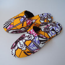 Medium & Large (2sizes) / Batik Mix Slippers [vinyl sole] (Yellow Wacha-Wacha Kashi-Mashi sippers)【JP25cm/27cm】HM - Heiwa Slipper
