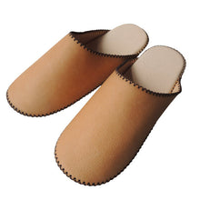 TOKYO Leather simple slippers [White Brown] Chrome-free