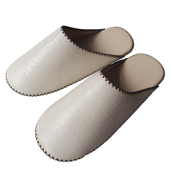 TOKYO Leather simple slippers [White] Chrome-free - Heiwa Slipper