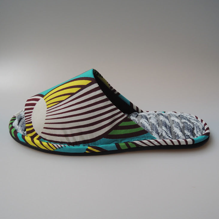 [Size 26m]  Stripe Tamago Club Umimasu  Open toe Batik×Denim upcycle soles slippers #1 - Heiwa Slipper