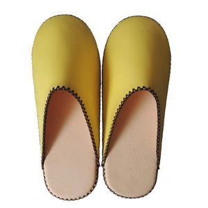 [Yellow: Small] Sheepskin×TOKYO Leather(Pigskin) simple slippers [Yellow] Chrome-free - Heiwa Slipper