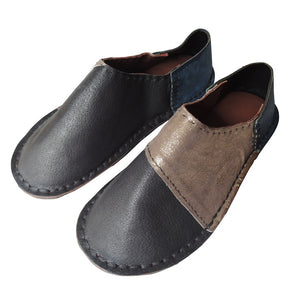 Large: Patchwork Scrappy leather slippers【Rubber soles】 #2  [shine] - Heiwa Slipper