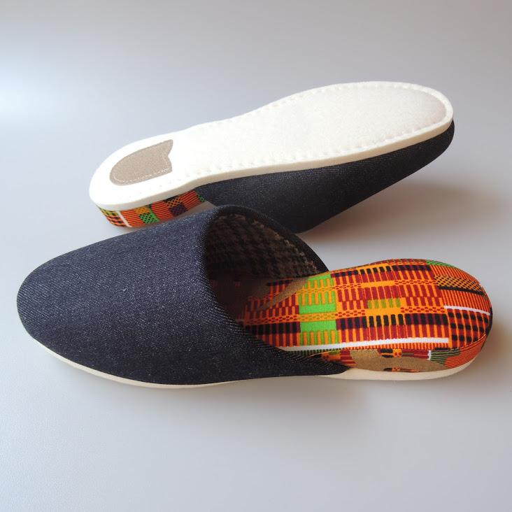 【Winter limited】Medium / Wool check Liner×Hiroshima Denim & Batik Mix Slippers [EsnoG]【JP25cm】#SP-0061-009 - Heiwa Slipper