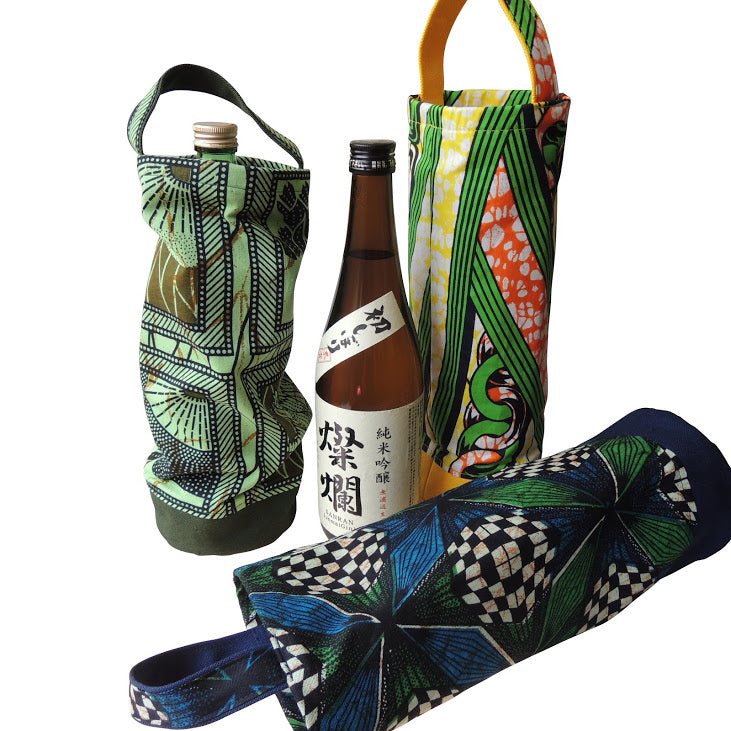 Wine bag  Bottle holder  MORI [Green birds] - Heiwa Slipper