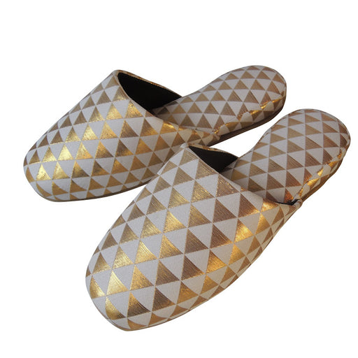 Shiny Triangle Slippers [White × Gold]  / 3 size - Heiwa Slipper