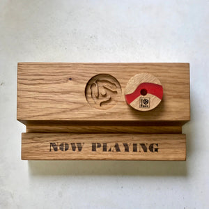 Oak Record Display Holder and 45 Adapter