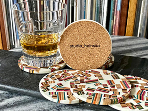 Limited Edition -Whiskey and Vinyl Laser Engraved Oak LP Storage Box with handmade White Epoxy Resin Coaster Gift Set
