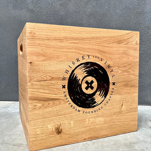 'Whiskey and Vinyl Amsterdam'  Laser Engraved Oiled Oak LP Storage Box