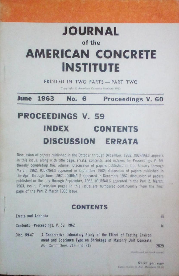 Journal Of The American Concrete Institute June 1963 (V 61 No 6)