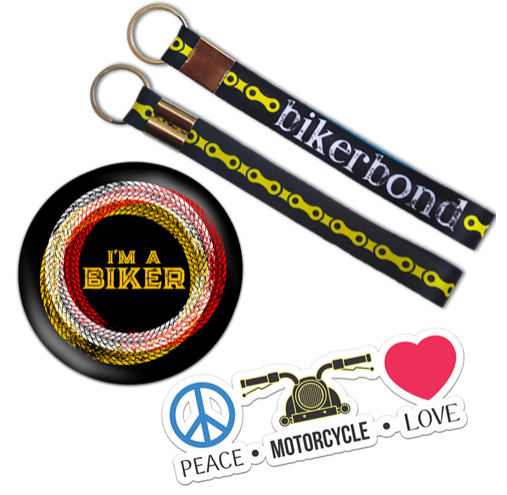 Riders – Mix Combo Biker Bond Keychain + I'M A Biker Black Badge + Peace Sticker